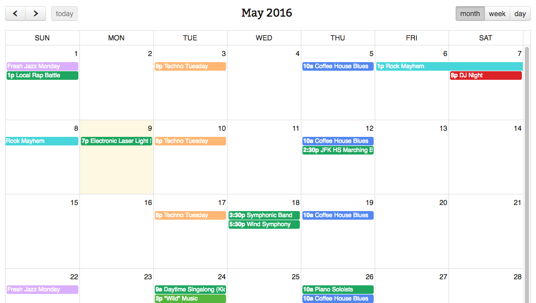 Simple Calendar FullCalendar with Google Calendar Pro grid view